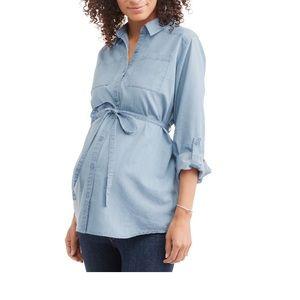 Long Sleeve Button Down Maternity Shirt